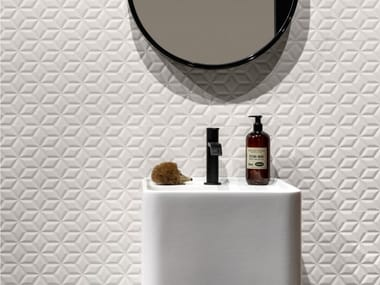 Rectified indoor white-paste wall tiles SPRINGPAPER 3D-02 WHITE