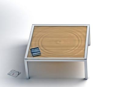 Tavolino basso quadrato in acciaio e legno AQUA | Tavolino quadrato