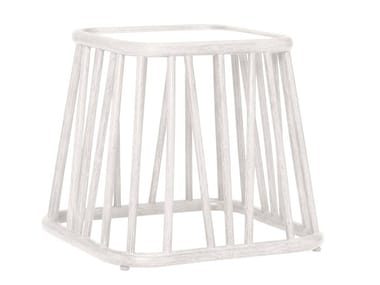 Square rattan and glass side table KYOTO | Square coffee table
