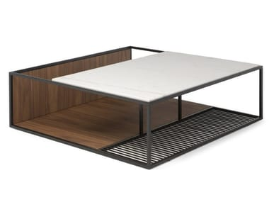Square coffee table with integrated magazine rack FIL ROUGE | Square coffee table