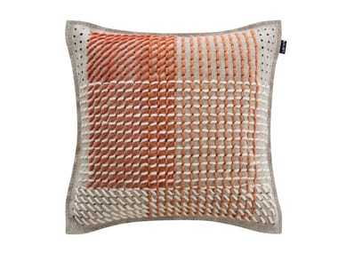 Square fabric cushion CANEVAS GEO CORAL | Square cushion