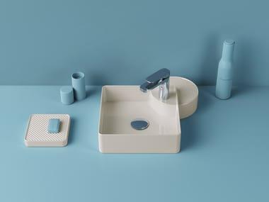 Countertop square ceramic washbasin CARTESIO | Square washbasin