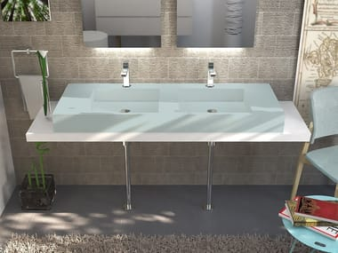 Double Pietraluce® washbasin countertop SQUARE | Washbasin countertop