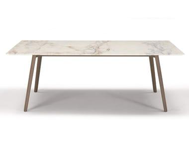 Rectangular die cast aluminium and Calacatta marble table SQUID M   Rectangular table