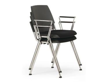 Sedia imbottita impilabile in plastica in stile moderno con braccioli VOLÉE EASY SOFT | Sedia impilabile