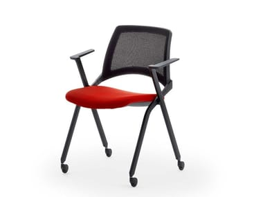 Stackable mesh chair with armrests with castors LAKENDÒ NET SOFT | Stackable chair