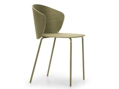 Sedia impilabile in acciaio e legno NOT WOOD | Sedia impilabile