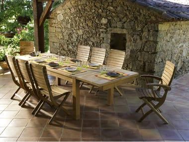 Tavolo allungabile da giardino da pranzo in teak STAFFORD | Tavolo da pranzo