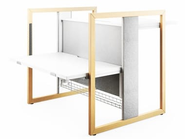 Height-adjustable office workstation with sound absorbing screens STAND UP R