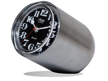 Brushed steel table clock STATIC | Brushed steel clock