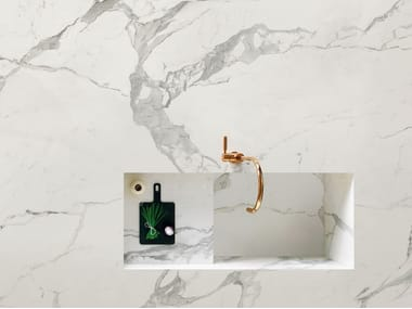 Antibacterial porcelain stoneware wall tiles with marble effect STATUARIO LUX