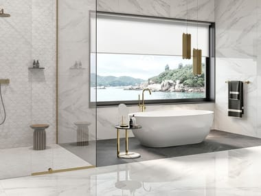 Porcelain stoneware wall/floor tiles with marble effect STATUARIO WHITE