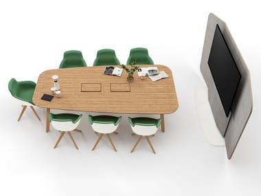 Wooden meeting table with cable management STAY MEETING