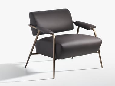 Leather armchair with armrests STAY | Leather armchair