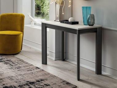 Extending rectangular HPL and aluminium console table STEAVE | Extending console table