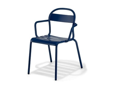 Stackable plate chair with armrests STECCA 2