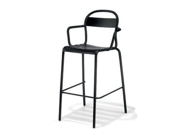 High stackable plate stool with armrests STECCA 6