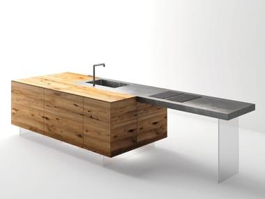 Top cucina / tavolo a penisola in acciaio e legno STEEL+