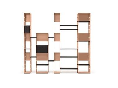 Open freestanding modular steel bookcase STEELBOX
