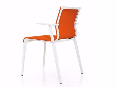 Upholstered stackable fabric chair with armrests STICK CHAIR ATK QUATTRO | Fabric chair