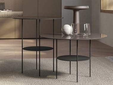 Round lacquered glass coffee table STICK | High side table