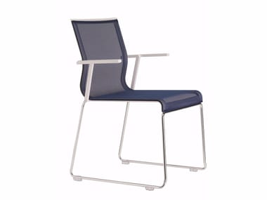 Sled base stackable mesh chair with armrests STICK STK SKID BASE | Stackable chair