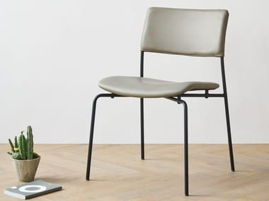 Leather chair and steel base STILO | Chair