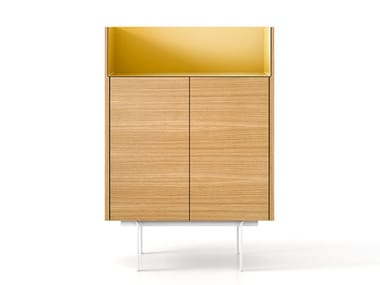 Oak highboard with doors STOCKHOLM | Highboard