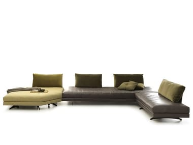 Corner sectional sofa in leather and fabric STONE | Leather sofa