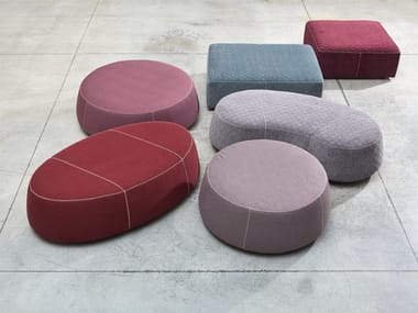Upholstered fabric pouf with removable lining STONES   Pouf