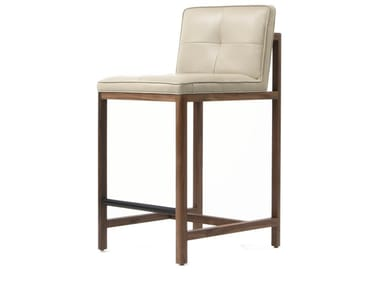 Upholstered leather stool with back WOOD FRAME DINING | Stool