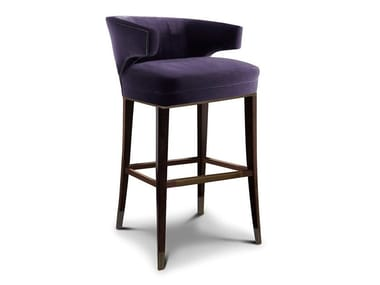 High upholstered fabric stool with back IBIS   Stool