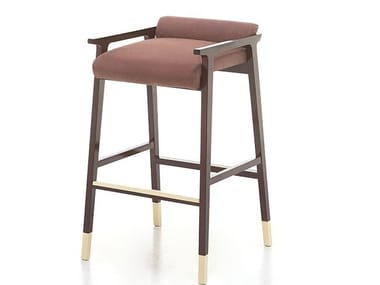 Upholstered leather stool TENUES | Stool