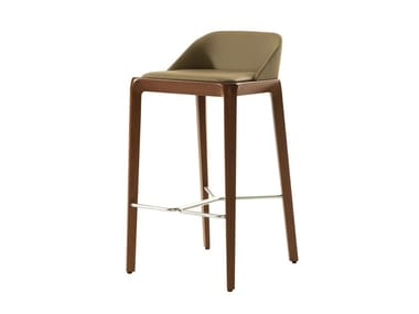 High upholstered leather stool with footrest BRIO | Stool