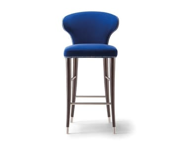 Fabric stool with back with footrest CAMELIA | Stool