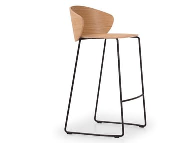 Stackable sled base steel and wood stool NOT WOOD | Stool