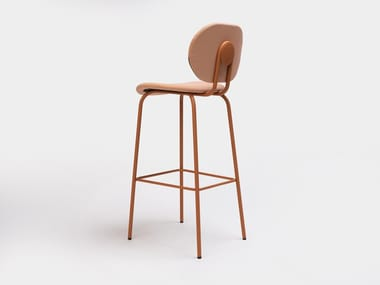High steel stool with integrated cushion with back HARI   Stool with back