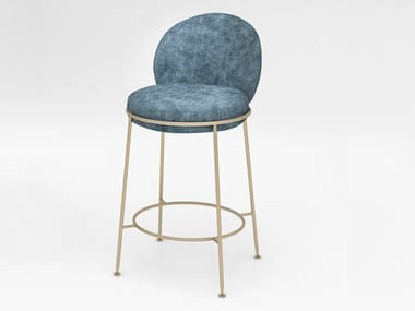 Velvet barstool with back AMARETTO | Stool with back