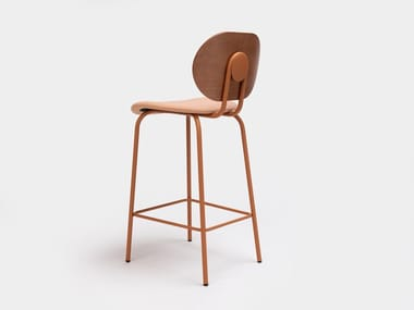 Steel and wood stool with integrated cushion with footrest HARI | Stool with footrest