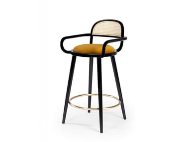High wooden stool with integrated cushion LUC | Stool with integrated cushion