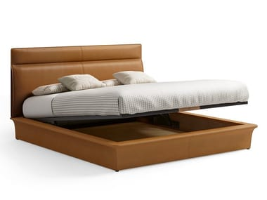 Tanned leather storage bed with upholstered headboard STARLIGHT | Storage bed