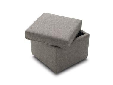 Pouf contenitore imbottito quadrato in tessuto SECRET