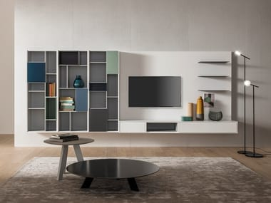 Wall-mounted TV wall system ATENEO | Storage wall