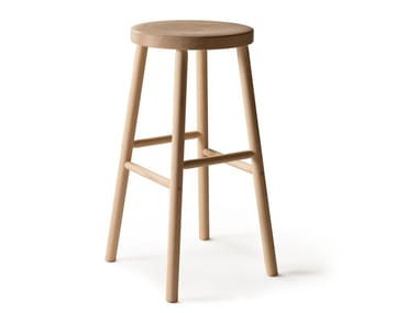 Wooden stool with footrest STORIA | High stool