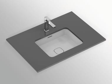Lavabo da incasso sottopiano rettangolare in ceramica con troppopieno STRADA II - T2992