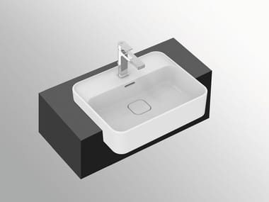 Lavabo a semincasso rettangolare in ceramica con troppopieno STRADA II - T2993