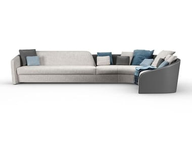 Corner modular leather and fabric sofa with removable cover STRATUM | Corner sofa