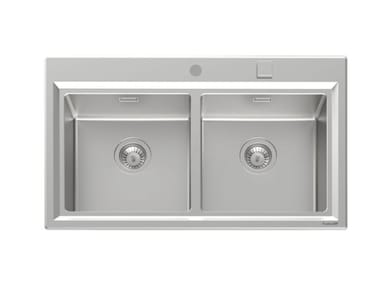2 bowl Semi flush top stainless steel sink STRIPE 2V S/FT