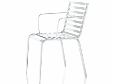 Stackable chair with armrests STRIPED | Chair with armrests