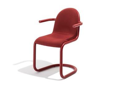 Sedia a sbalzo in acciaio con braccioli STRONG | Sedia con braccioli